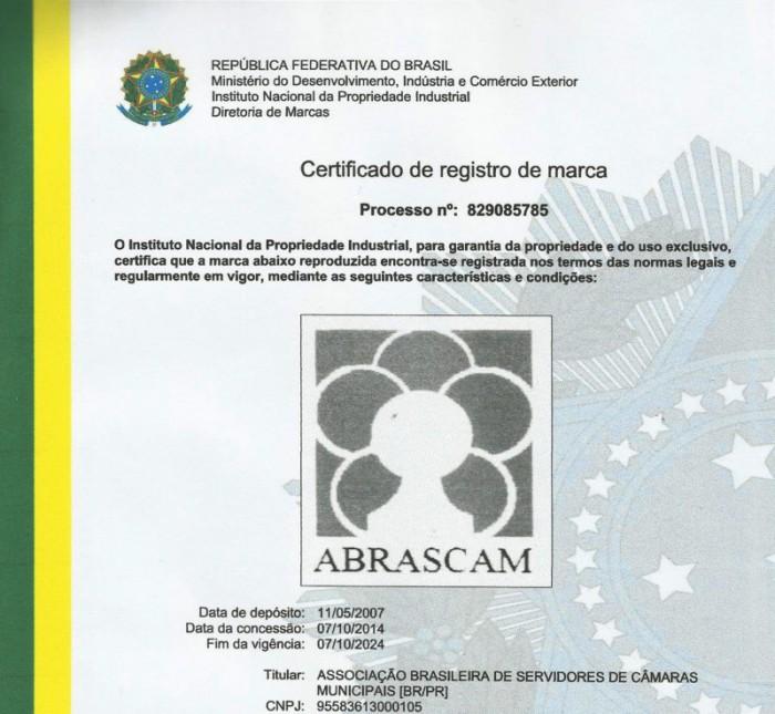 ABRASCAM obtém o certificado do registro de sua marca